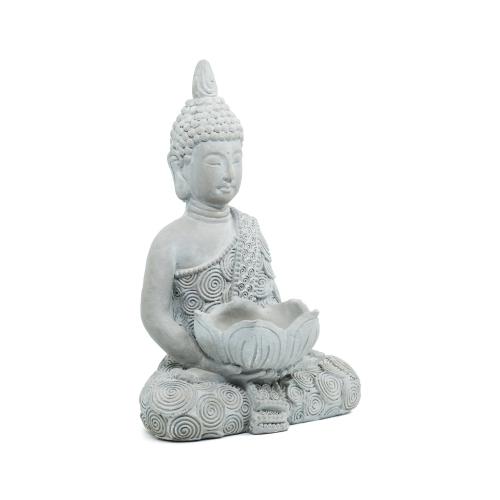 Buddha - Statue Cement 16in/40cm - Grey - 1pc - Yogavni