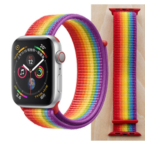 TopSave Watchband for Apple Watch 38/40mm Nylon Replacement Strap for Apple Watch Series 5, 4, 3, 2, 1,Rainbow