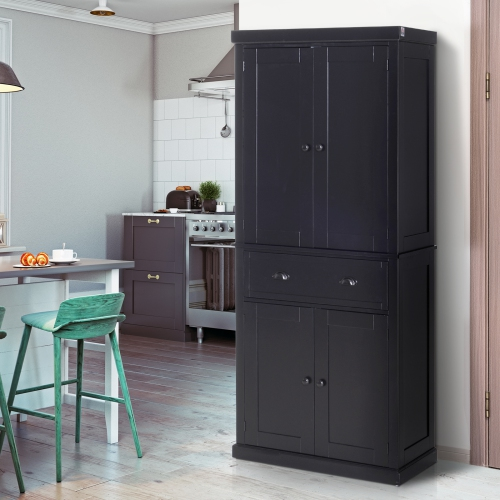 Homcom 72 5 H Traditional Freestanding Kitchen Pantry Cabinet Traditional Spacious Storage Closet With 2 Drawers Kitchen