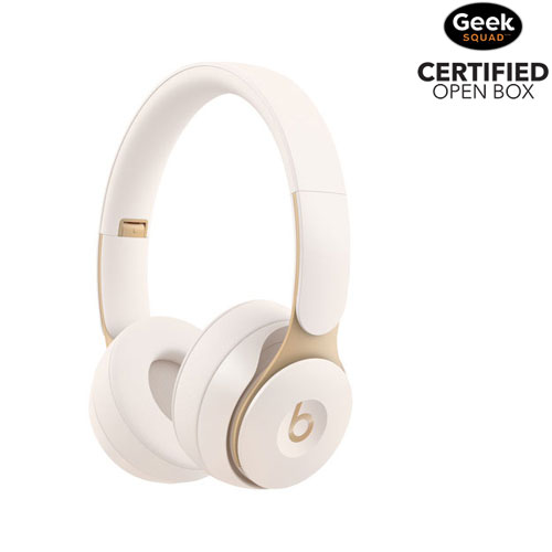 Beats by Dr. Dre Solo Pro On-Ear Noise Cancelling Bluetooth Headphones - Ivory - Open Box