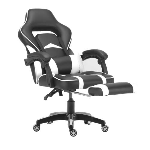 ViscoLogic Supra Chaise de jeu de bureau à domicile de style sportif ergonomique avec repose-pieds