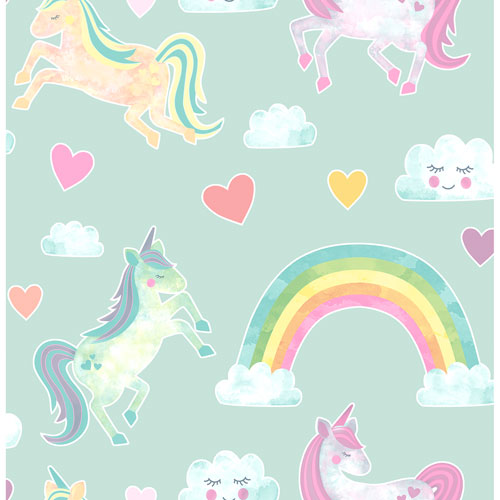 Brewster Novelty Wallpaper - Elora Mint Unicorn Wonderland