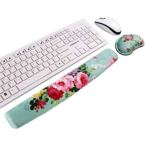 Durable /& Comfortable /& Lightweight for Easy Typing /& Pain Relief FF1 Non Slip Gel Keyboard Wrist Rest Pad and Memory Foam Mouse Wrist Rest Support