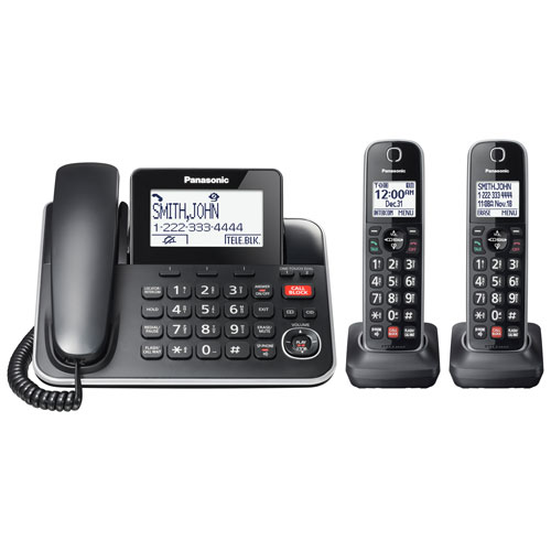 Panasonic 2-Handset DECT 6.0 Corded/Cordless Phone with Answering Machine (KXTGF872B)