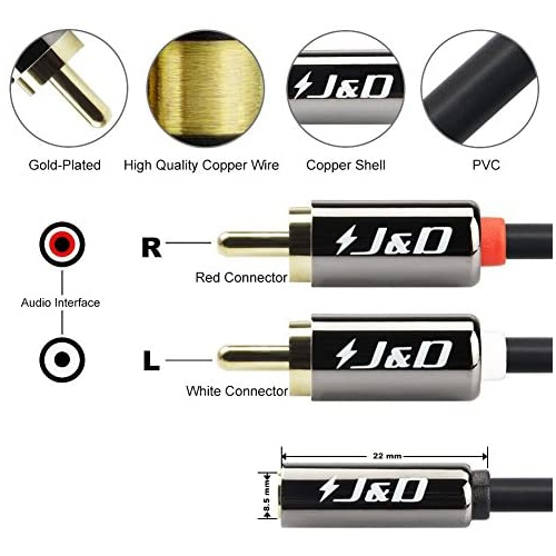 9 Feet // 2.7 Meter Copper Shell 3.5mm Female to 2 RCA Male Stereo Audio Adapter Cable Heavy Duty J/&D RCA Cable Gold-Plated 3.5 mm to 2RCA Cable