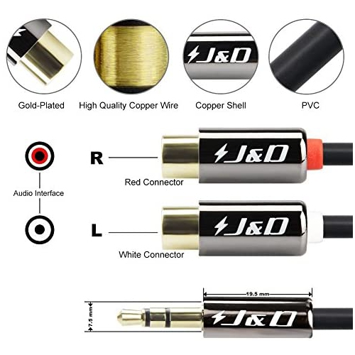 J/&D RCA Cable Gold-Plated 9 Feet // 2.7 Meter / Copper/Shell 3.5 mm to 2RCA Cable Heavy/Duty 3.5mm Male to 2 RCA Male Stereo Audio Adapter Cable
