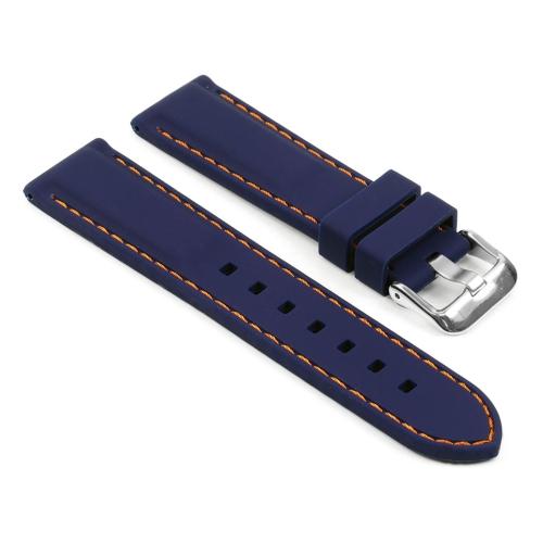 StrapsCo Silicone Rubber 22mm Watch Band Strap with Stitching for Matrix PowerWatch 2 - Blue & Orange