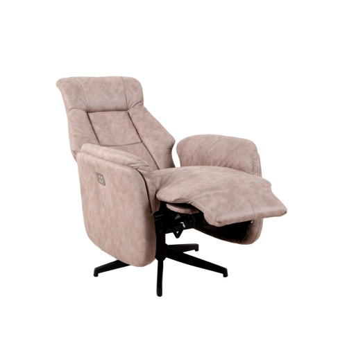 ViscoLogic Recliner Classic Power Chair Soft and Warm Fabric with Control Panel for Gentle Motor
