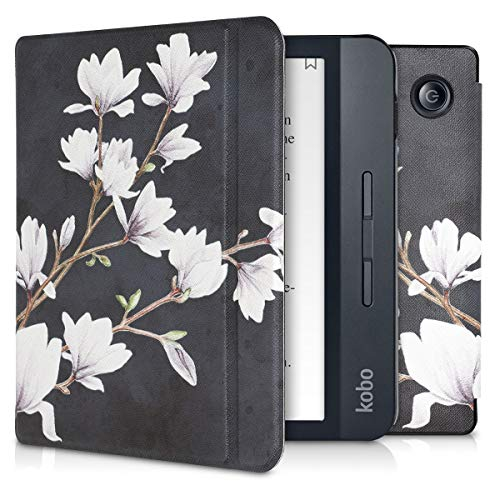 Magnolias Taupe//White//Blue Grey kwmobile Case Compatible with Kobo Nia PU e-Reader Cover