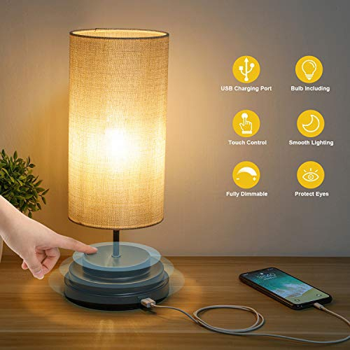 Kohree Touch Control Bedside Led Table Lamp Usb Charging Port Fully Dimmable Modern Nightstand Lamp Desk Lamp Best Buy Canada