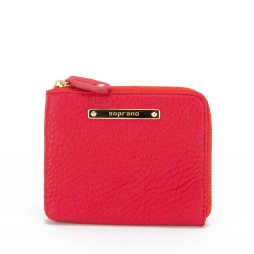 Soprano Handbags Edith Leather L-zip Purse - Red