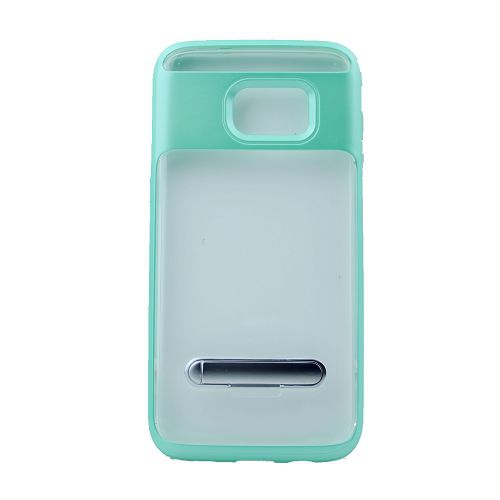 No Package will be included Slim clear tpu+hard frame rubber bumper for Samsung S7 with kickstand, Teal