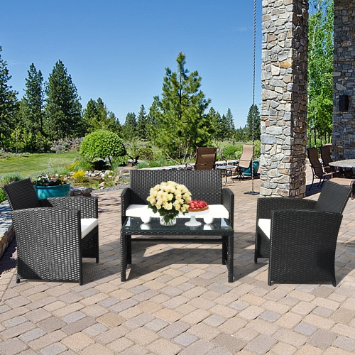 gymax 4pcs rattan patio conversation set outdoor w coffee table cushioned sofa