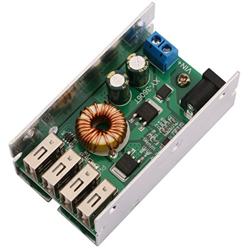 Yeeco DC DC 9-36V to 5V Voltage Regulator Buck Converter 5A Volt Transformer Power Supply Module with 4 USB Ports for Android Phone Fast Charging