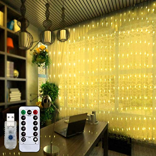 Fairy Curtain Lights 9 8ft X 9 8ft Twinkle 300 Leds Background String Lights With 8 Modes Remote Timer For Bedroom Best Buy Canada