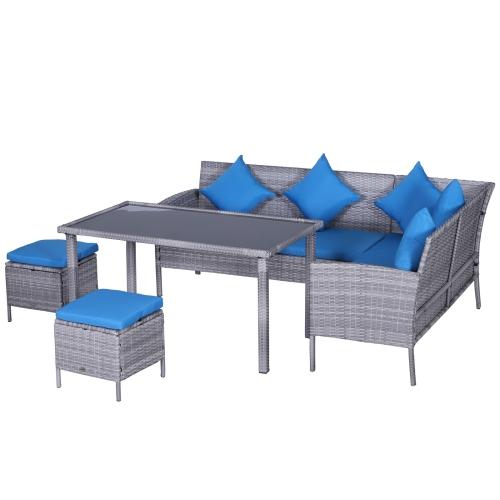 Outsunny 5 Piece Modern Rattan Wicker, Grey Rattan Garden Furniture With Blue Cushions