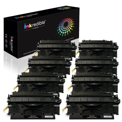 HP CE505X Cartouche de Toner Compatible Noir, Haute Capacité - Inkredible Toner™ - 8/ paquet
