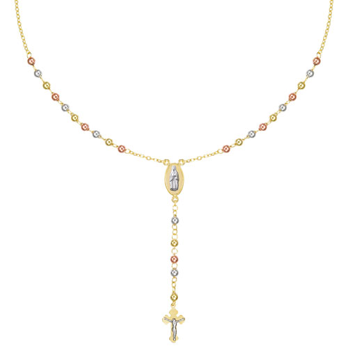 """Le Reve Collection Rosary Pendant in 17"""" 10K 3-Tone Gold Plated Silver Chain"""