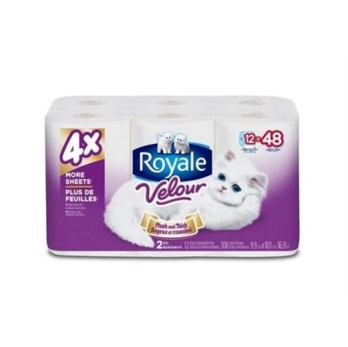 Papier hygiénique ROYALE® Velour ™ peluche et épaisse 2 épaisseurs - 12 rouleaux