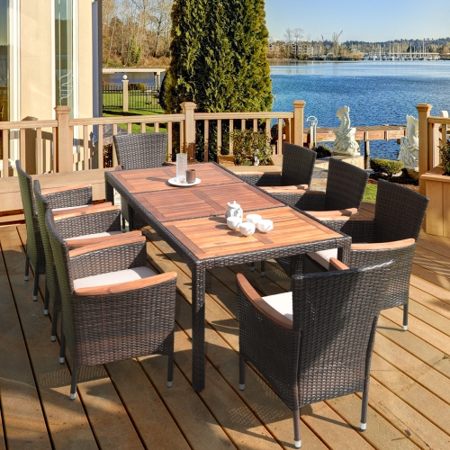 Costway 9 Piece Modern Classic Rattan Patio Dining Set W Large Acadia Wood Dining Table 8 Cushioned Wicker Chairs 9pcs Best Buy Canada