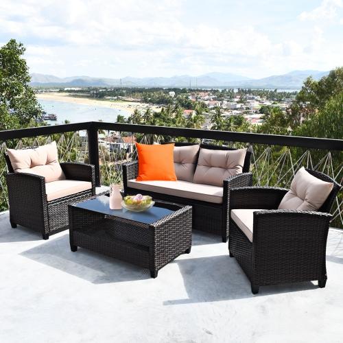 4PCS Ensemble de meubles d'extérieur en rotin Canapé rembourré avec accoudoir et table en verre Costway