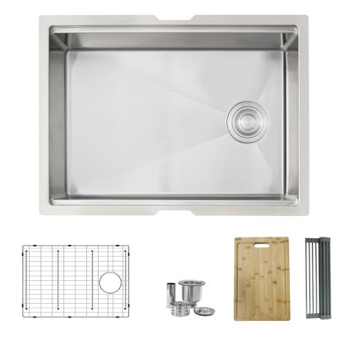 STYLISH 25 inch Workstation Single Bowl Undermount 16 Gauge Stainless Steel Kitchen Sink with Built in Accessories