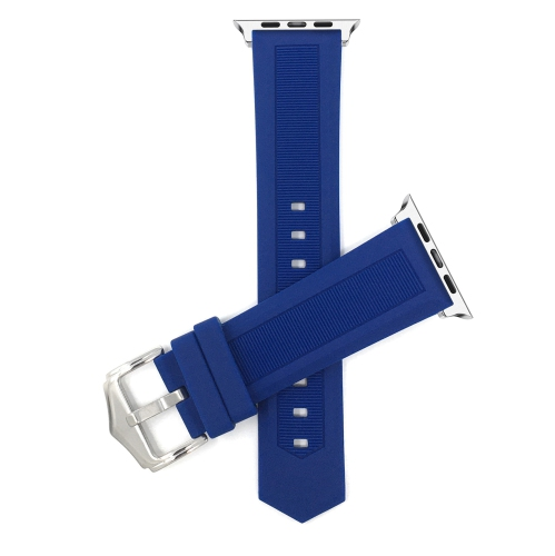 Bandini Silicone / Rubber Watch Strap for Apple Watch Band 38mm / 40mm, Series 6 5 4 3 2 1, Waterproof, Blue / Silver
