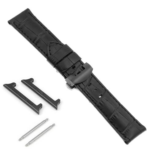 DASSARI Bracelet en cuir croco avec fermoir déployant noir pour Apple Watch - 42mm - Noir