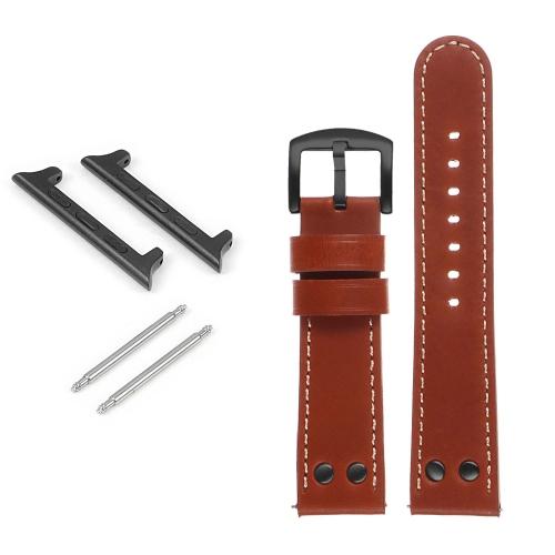 DASSARI Bracelet de montre en cuir pilote avec rivets noir mat pour Apple Watch - 42mm - Rouille
