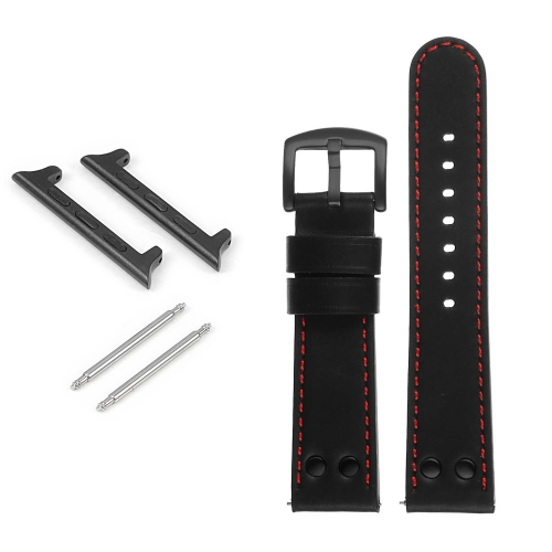 DASSARI Bracelet de montre en cuir pilote avec rivets noir mat pour Apple Watch - 38mm - Noir & Rouge