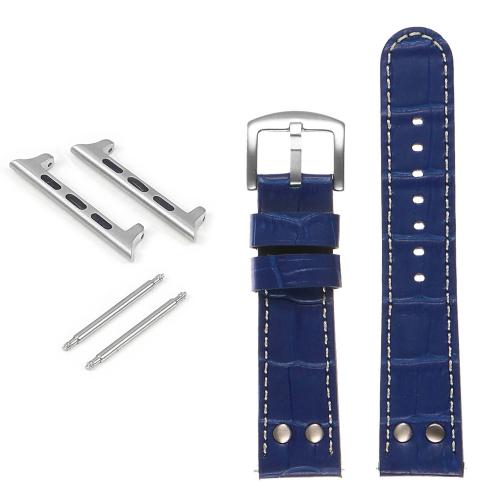 DASSARI Bracelet de montre pilote en cuir gaufré croco avec rivets pour Apple Watch - 38mm - Bleu