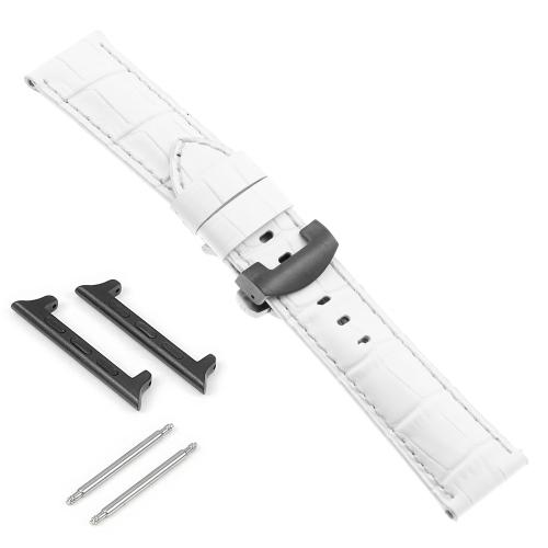 DASSARI Bracelet en cuir croco avec fermoir déployant noir pour Apple Watch - 42mm - Blanc