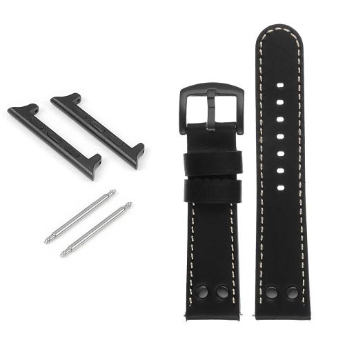 DASSARI Bracelet de montre en cuir pilote avec rivets noir mat pour Apple Watch - 38mm - Noir & Blanc
