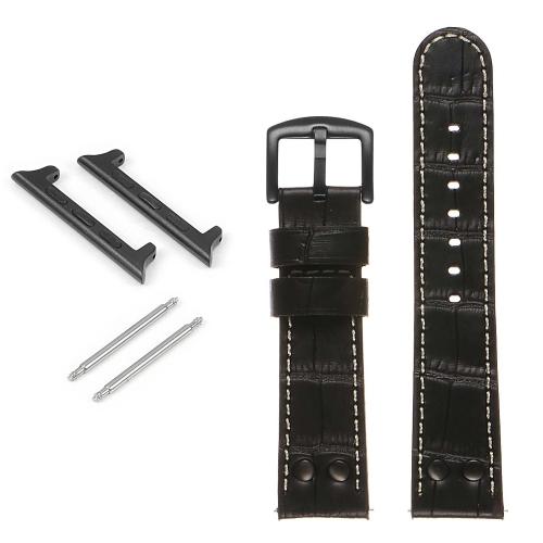 DASSARI Bracelet de montre pilote en cuir gaufré croco avec rivets noir mat pour Apple Watch - 42mm - Noir