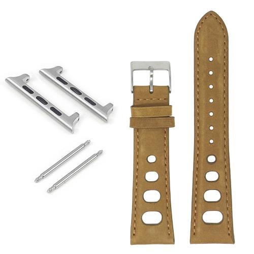 DASSARI Bracelet de rallye en cuir vieilli pour Apple Watch - 44mm - Chameau