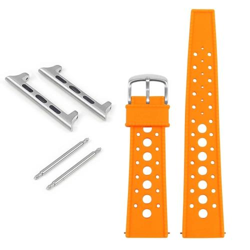 StrapsCo Bracelet rétro en caoutchouc pour Apple Watch - 38mm - Orange