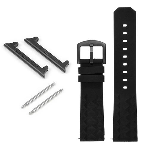 StrapsCo Bracelet en caoutchouc Super Waffle avec boucle noire mate pour Apple Watch - 38mm - Noir