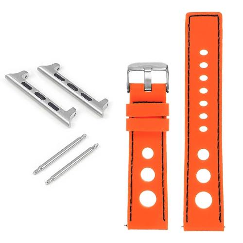 StrapsCo Bracelet de rallye en caoutchouc pour Apple Watch - 44mm - Orange & Noir