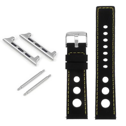 StrapsCo Bracelet de rallye en caoutchouc pour Apple Watch - 44mm - Noir & Jaune