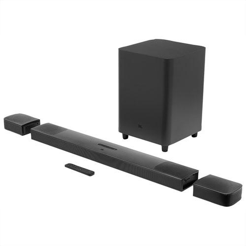 Barre de son Dolby 4K Atmos 9.1 canaux 820 W, haut-parleurs extrêmes graves/ambio. sans fil 10po JBL