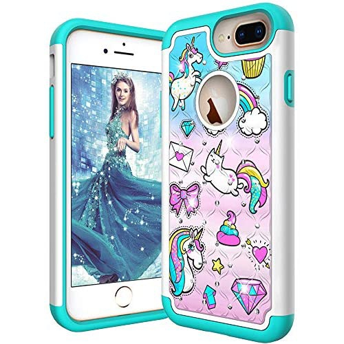 ISADENSER iPhone 6 Plus Case iPhone 6S Plus Shockproof 2 in 1 Hybrid Dual Layer Heavy Duty for Girls Soft TPU Silicone