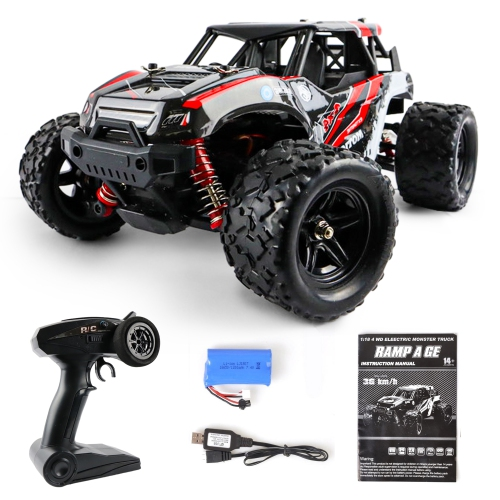 MotionGrey 1:18 Remote Control RC Car High-Speed 35km/h 4WD RC 2.4 Ghz Toy Off Road Monster Truck Buggy All Terrain Red for Adult