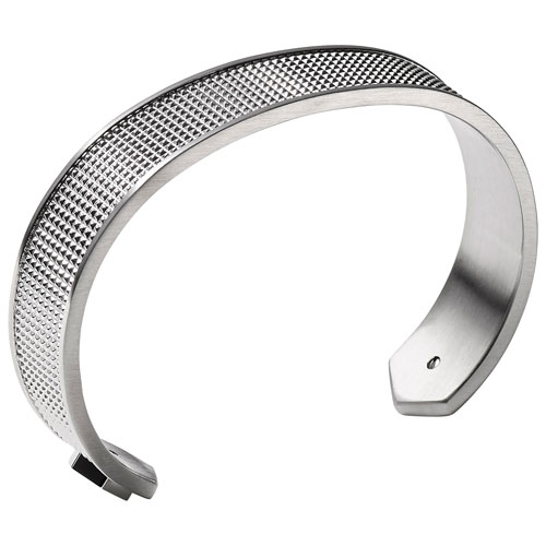Bracelet ouvert moleté en acier inoxydable de Bulova - Moyen