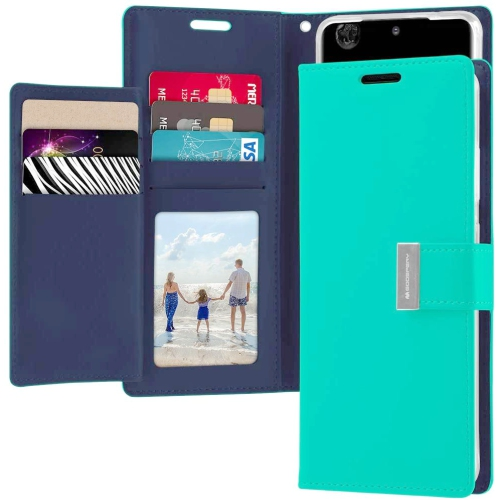TopSave Goospery Rich MAX(6) Card Slot Leather Folio Wallet Flip Case For Samsung S20, Teal