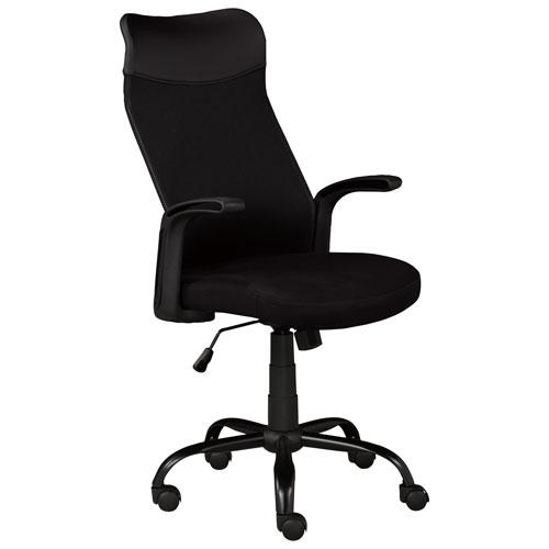 Fauteuil de bureau ergonomique en similicuir à dossier mi-hauteur Milan de Brassex - Noir