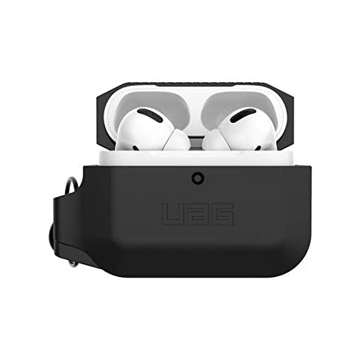 URBAN ARMOR GEAR UAG Compatible with AirPods Pro 10225K114040 Full-Body Protective Rugged Water Resistant Soft-Touch Silicone Case with Detachable Carabiner Black//Black