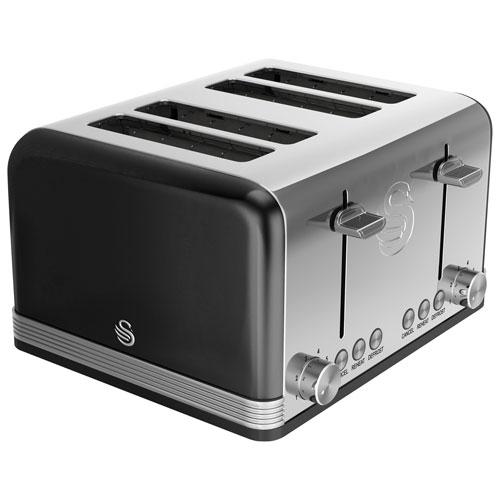 Grille-pain rétro de Swan - 4 fentes - Noir