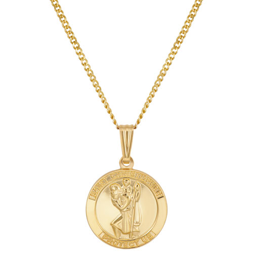 """Le Reve Collection St. Christopher Pendant on 20"""" 14K Gold Filled Chain"""