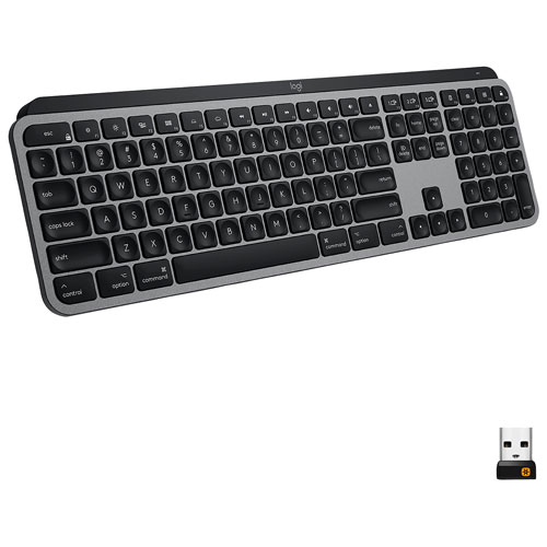 Logitech MX Keys Bluetooth Backlit Keyboard for Mac - Space Grey - Bilingual