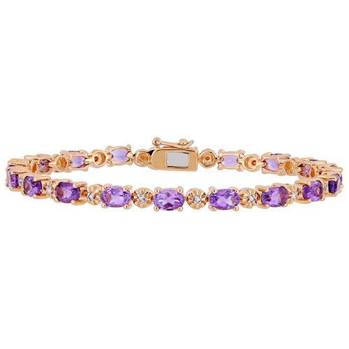 Amour Purple Oval Amethyst & 0.02 ctw Diamond Tennis Bracelet on Rose Plated Silver